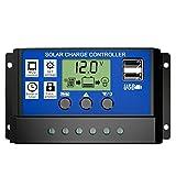 Decdeal ソーラーコントローラ 20A 12V 24V HD LCD PWMチャージコントローラー レギュレータ インテリジェントコントローラ 家庭用 街灯用