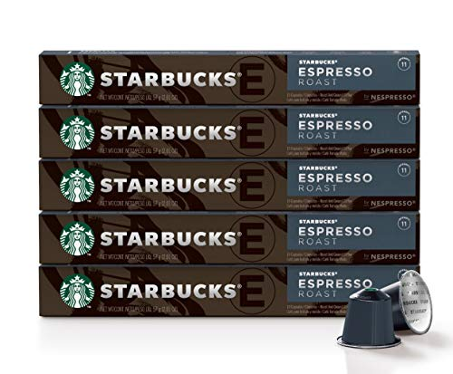 Starbucks by Nespresso, Espresso Dark Roast (50-count single serve capsules, compatible with Nespresso Original Line System), 10 Count (Pack of 5)