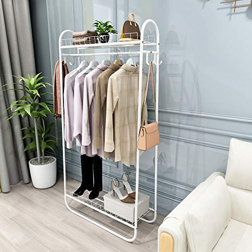 Kefair Metal Garment Rack Free-Standing Closet Organzier Heavy Duty Clothes Rack with Hooks and Storage Shelvels White