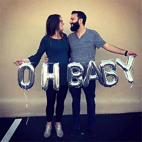 DreamJ OH Baby Folie Ballons Silber Deko Luftballon Buchstaben Ballon für Dusche Geburtstag Hochzeit Party Dekoration 16 Zoll