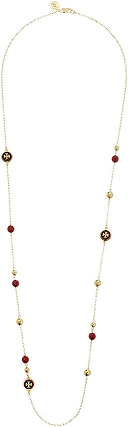 Tory Burch - Raised Logo Rosary Necklace
