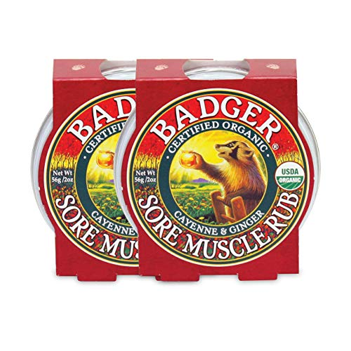 Badger - Sore Muscle Rub, Cayenne Pepper and Ginger, Organic Sore Muscle Rub, Warming Balm, Muscle Relief Balm, Warming Muscle Rub, Sore Muscle Balm, 2 oz (2 Pack)