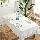 Mantel de Lino Rectangular Lotus, Mantel de Boda, Mesa de Comedor, Paño de algodón 140x180cm Blanco