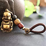 H.Slay 2 Piezas Vintage latón Macizo Maitreya Buda Estatua Llavero Colgantes Cobre Puro riendo Gran Vientre Buda llaveros Adornos Colgantes