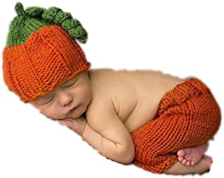 Newborn Baby Photo Props Outfits Pumpkin Hat Pants for Boys Girls Photography Shoot