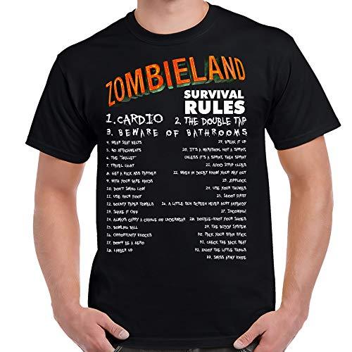 TeeWham Zombieland Survival Rules Shirt-XXL Black