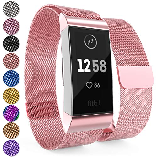 Yousave Accessories Armband Kompatibel mit Fitbit Charge 3 & 4 Armband, Mesh Armband, Edelstahl Sport Ersatzarmband für Fitbit Charge 3 & 4 Tracker, Fitbit Charge3 / Charge4 Armbänder