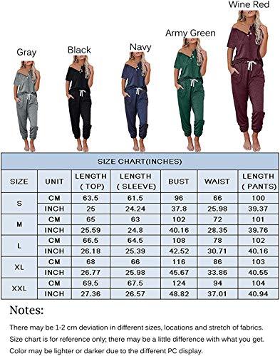 Conjunto casual deportivo para mujer, chándal de gimnasia de 2 piezas, camiseta de manga corta y pantalones con cordón, conjunto de salón, Vino rojo, XXL