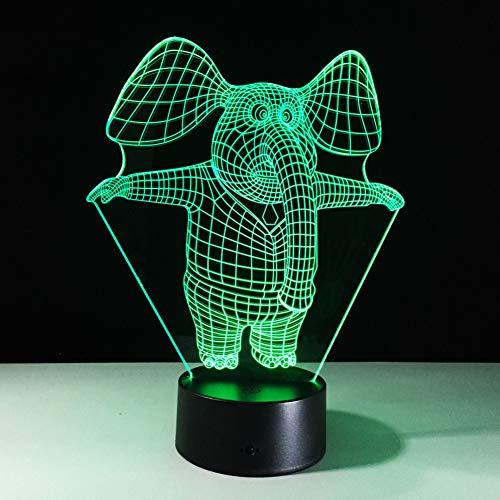 Laofan 7 lámpara del Elefante del Color 3D llevó los Accesorios del Tacto del telecontrol de la lámpara del Vector de Acylic de la luz de la Noche,Altavoces Bluetooth