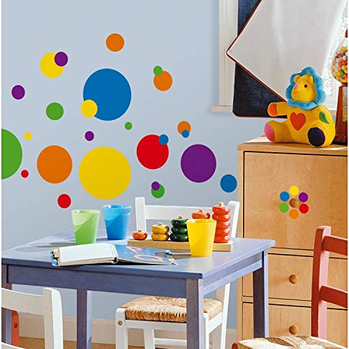 RoomMates RMK1248SCS Just Dots Peel & Stick Wall Decals, Primary Colors