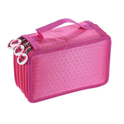 KKmoon Multifuncional de Gran Capacidad Caja De LáPiz , Pen Bag Pencil Case,con Cremallera de 4 Capas ,Color ROSE FOND