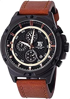 T5 H3478G-D Leather Round Analog Watch for Men - Brown