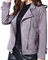 chouyatou Women's Modern Notched Collar Oblique Zip Relaxed Suede Leather Biker Jacket (Large, Grey)