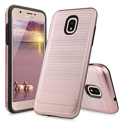 TJS Phone Case Compatible with Samsung Galaxy J7 2018/J7 Refine/J7 Star/J7 Eon/J7 TOP/J7 Aero/J7 Crown/J7 Aura/J7 V 2nd Gen, Metallic Brush Finish Inner Layer Protector Cover (Rose Gold)