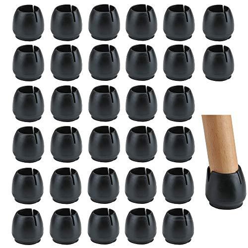 Lezed Gummi Stuhl Kappen Füße Pads Schwarz Stuhlkappen Stuhlbeinschutz Stuhlbeinkappen Stuhlbein Socken Tische und stühle fuß Protektoren für 17-21MM Runde Beine 32pcs (17-21MM)