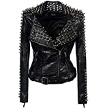 SX Women Punk Faux Leather PU Black Jacket Studded Rivet Fashion Streetwear Motorcycle Coat (S, Black)