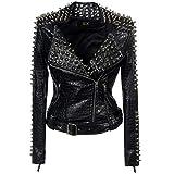 SX Women Punk Faux Leather PU Black Jacket Studded Rivet, Black, Size Medium
