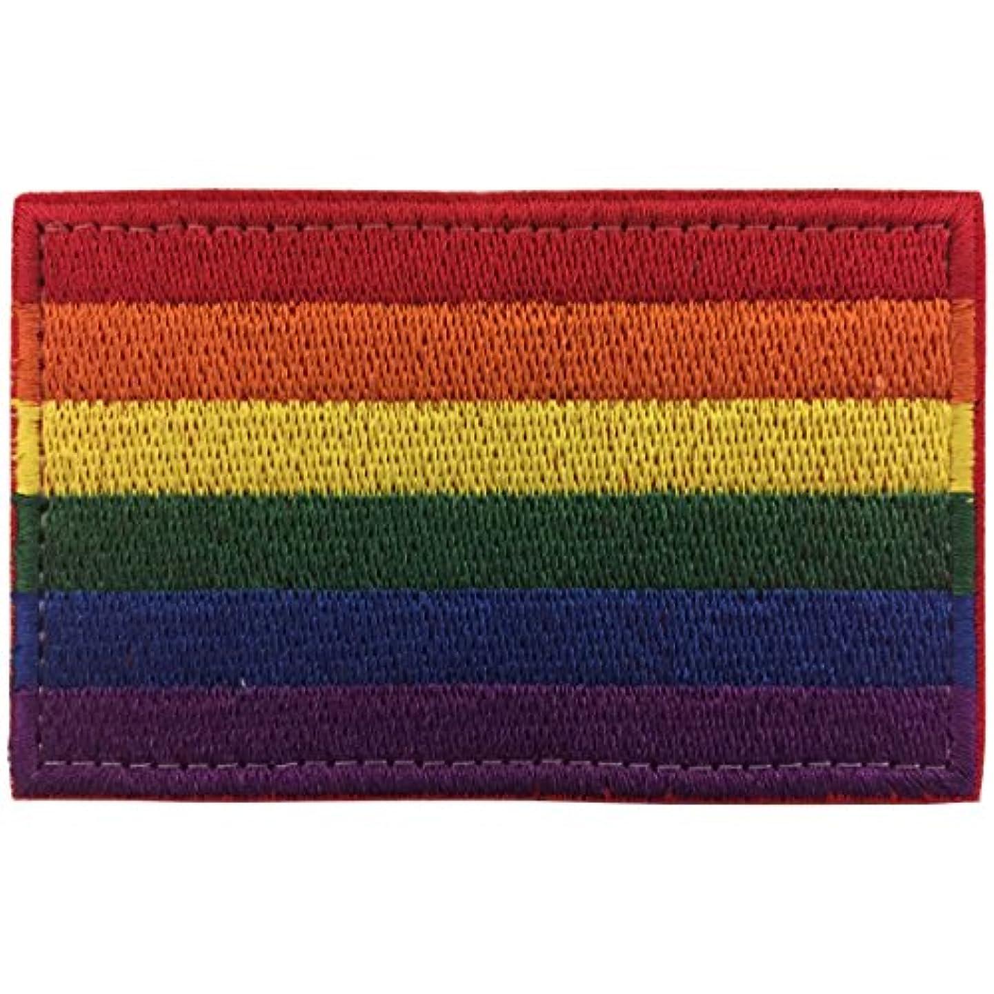 SpaceCar Rainbow LGBT Gay Pride Flag Embroidery Hook & Loop Decorative Morale Patch 3.15