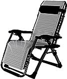 MFLASMF Productos para el hogar Patio Lounge Sillones reclinables Tumbona Silla reclinable con portavasos y cojín para la Playa del Patio Junto a la Piscina - Gris