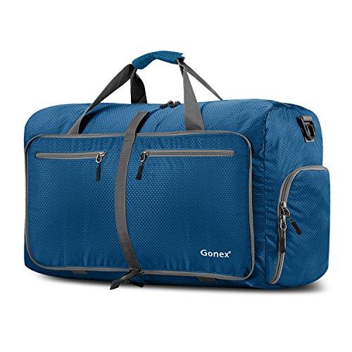 Gonex - Bolsa de Equipaje/Viaje de Duffel Plegable Impermeable y Resistente 60L Travel Bag para Viaje/Deporte Azul Oscuro