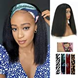 Kinky Straight Headband Wigs for Women Synthetic 14 inch Headwrap Wigs with Headband Attached Easy to Wear Yaki Wigs for Black Women Glueless Non Lace Frontal Wig(14 inch, 1B)