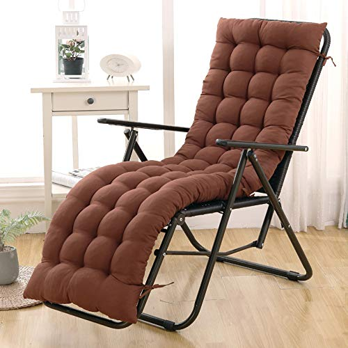 Folding Rocking Chair Cushion High Back Recliner Cushion for Garden Kitchen Dining Chair Pad Rocking Chair,Patio Lawn Chaise Lounger Cushion Seat Cushion Brown 48x120cm(19x47inch)