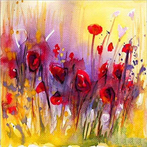 tzxdbh Abstract Papaver Bloem Canvas Schilderijen Op De Muur Moderne Rode Bloemen Pop Art Canvas Prints Muurfoto's Voor Woonkamer Decor PC7982 70x100cm Unframed