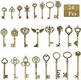Honmied 24 pcs llaves de bronce antiguo colgante de joyería llaves antiguas accesorios de decoración exquisitos adornos de metal dijes para pulseras y accesorios de joyería de bricolaje, 5-9mm