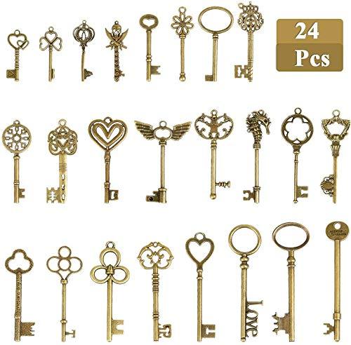 24 PCS Vintage Bronze Skeleton Keys,Antique Skeleton Keys Charms DIY Kits, Decorative Rustic Keychains for Handmade Accessories Necklace Pendant Jewelry Making