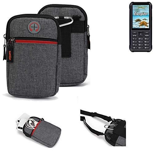 K-S-Trade® Gürtel-Tasche Für Energizer H20 Handy-Tasche Holster Schutz-hülle Grau Zusatzfächer 1x