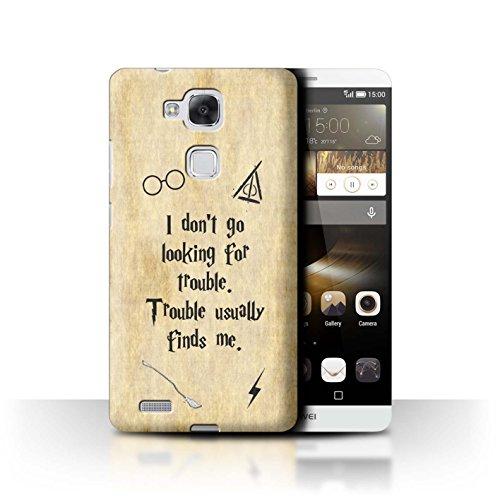 Hülle Für Huawei Ascend Mate7 Schule der Magie Film Zitate Trouble Finds Me Design Transparent Ultra Dünn Klar Hart Schutz Handyhülle Case