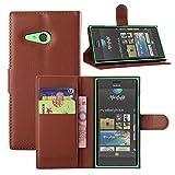 Tasche für Nokia Lumia 730 Hülle, Ycloud PU Ledertasche Flip Cover Wallet Hülle Handyhülle mit Stand Function Credit Card Slots Bookstyle Purse Design braun