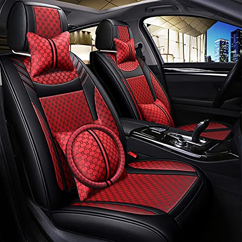 YUANJDS Car Seat Covers Full Set Leather Universal Fit Car Seat Covers Faux Leatherette Automotive Vehicle Cushion Cover for 5 Seat Cars SUV ,Pillows and Steering Wheel Cover Included (Red)