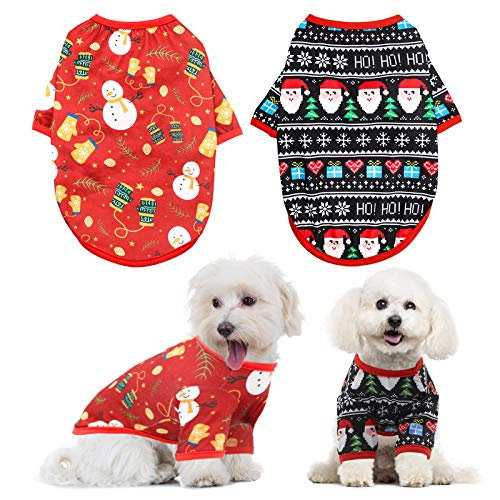 HYLYUN Dog Christmas Shirt 2 Packs - Christmas Pet Shirt Soft Breathable Puppy Shirts Printed Pet Clothing for Small Dogs and Cats M