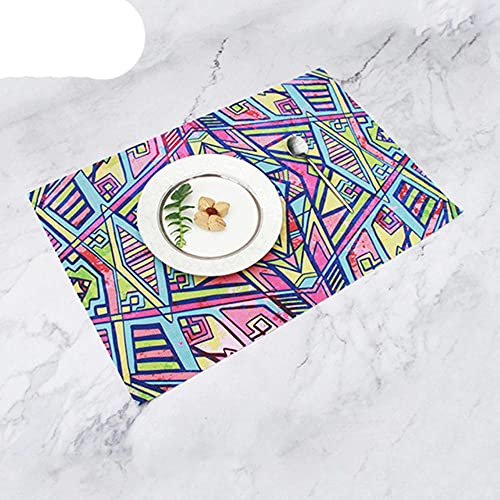 SEOLQX Manteles individuales de diseño geométrico abstracto bohemio, manteles individuales de PVC, servilleta, mantel individual, accesorios de cocina, 45 x 30 cm
