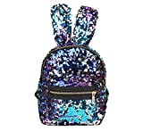 Shoulder Bag For Women And Girls With Cute Rabbit Ears Backpack Sequins Shoulder Bag Schoolbag Travel Day pack(Purple Blue)