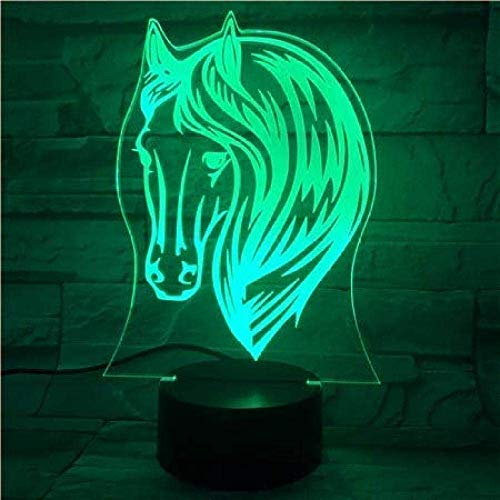 Lampe de nuit 3D Lampe de nuit 3D Cheval de poney Changement de couleur USB Acrylique Petite lampe d'ambiance à la maison pour enfants Jouets et cadeaux