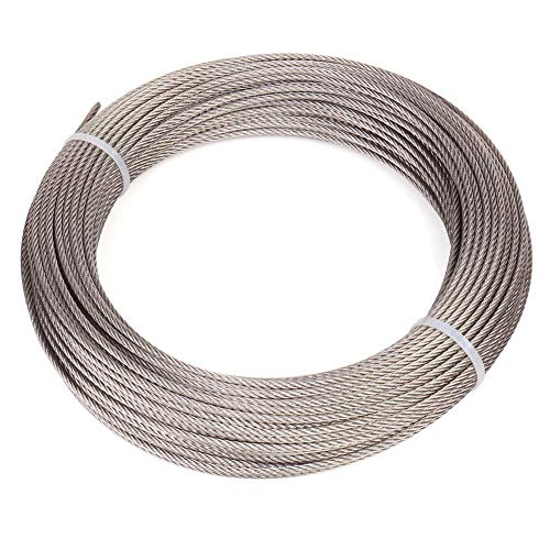 Cuerda de alambre, Cable de acero inoxidable 304, 7x7 filamento, Cable de 50 m de longitud, 167 Kg Resistencia a la rotura