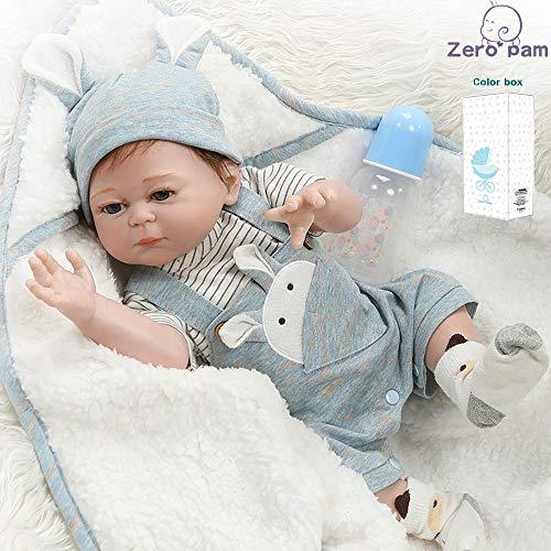 Zero Pam Twins Reborn Babypuppen, Jennifer und Leon, 20 Zoll 50 cm Ganzkörpersilikon, süße lebensechte handgemachte Puppen (Leon)