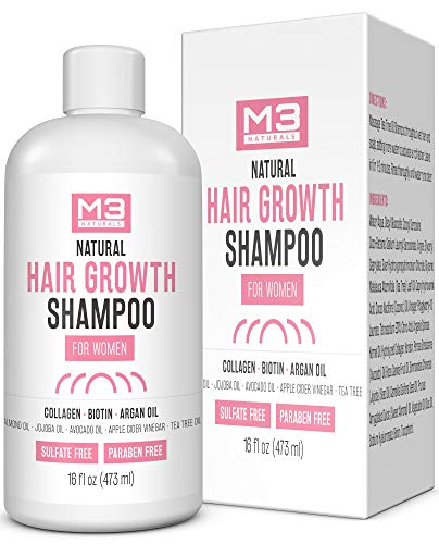 M3 Naturals Hair Growth Shampoo Infused with Biotin Collagen and Essential Oil for Dry Itchy Flaky Scalp Prevent Thinning Hair and Head Lice Hydrating Anti Fungal Anti Bacterial Sulfate Free 16 oz