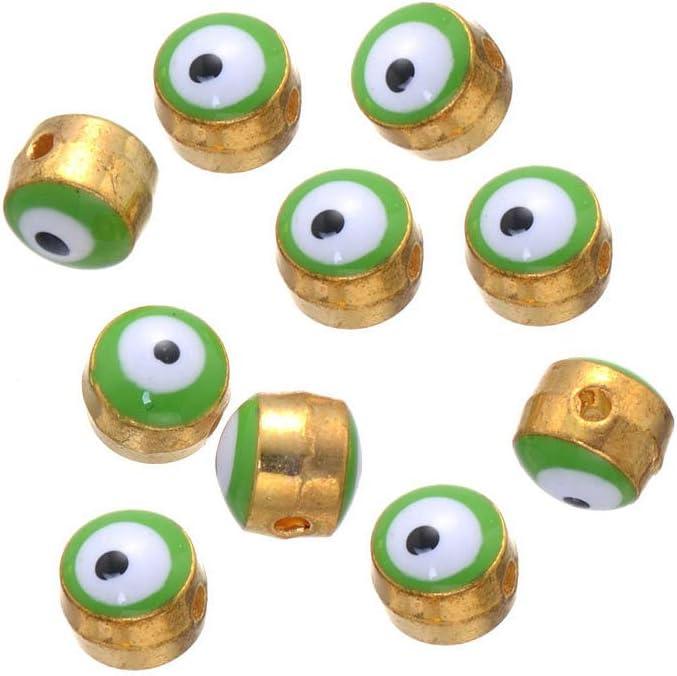 5pc Shiny Gold Plated White Enamel Evil Eye Charms Gold Mini Round Evil Eye Pendant Charms Good Luck Protective Amulet Talisman