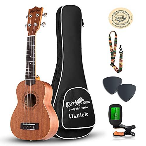 Everjoys Soprano Ukulele Starter Kit - Professional Mahogany 21 inch Ukelele w/Online Lesson Case Strap Digital Tuner Aquila Strings