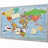 Cartina mappa del mondo in sughero con cornice 90x60 cm - Memo board in sughero con 20 bandierine - Cartina mappa del mondo Memoboard XXL
