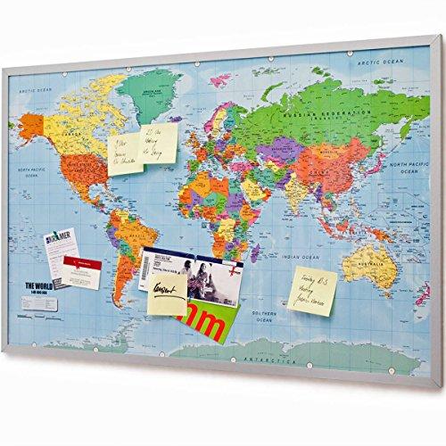 Pinnwand Weltkarte aus Kork mit Rahmen 90x60 cm - Memotafel aus Cork mit 20 Markierungsfähnchen - Weltkartenpinnwand Memoboard XXL