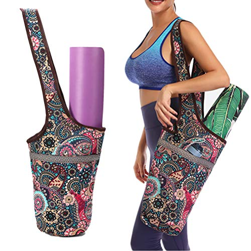 Bolsa de Almacenamiento Multifuncional para Esterilla de Yoga, Estilo étnico Impreso, Lona con Bolsillo con Cremallera