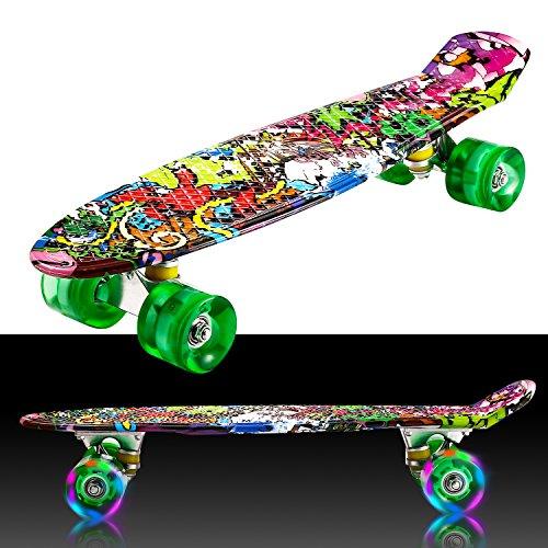 55cm/22 Mini Cruiser Board Retro Skateboard Komplettboard mit Leuchtrollen für Jugendliche Kinder und Erwachsene (Farbe 32)