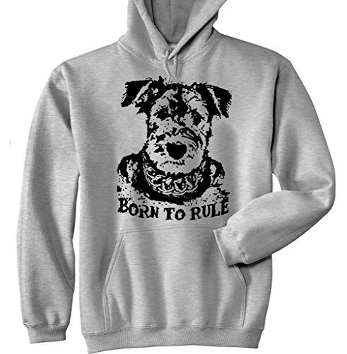 teesquare1st Men's Terrier Airedale Born to Rule P Nouveau Pullover à Capuche en Coton Gris Size XXLarge