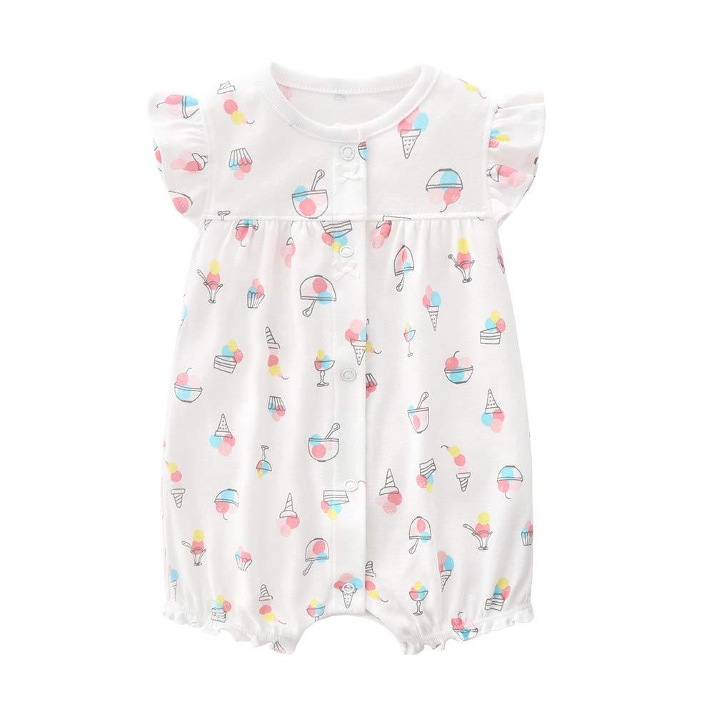 Baby Strampler M/ädchen Jumpsuit Neugeborenes Sommer Pyjama Baumwolle Kurzarm-Body 0-3 Monate
