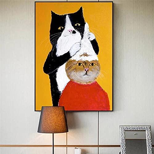 Champú de peluquero de gato negro con dibujos animados, pintura de diamante redonda completa, bordado de diamantes de imitación, para decoración de pared del hogar