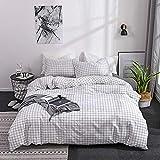 Funda nórdica Simplicity Lattice Duvet Cover Set Juego de edredón de microfibra, ropa de cama suave, con funda de almohada, edredón de ropa de cama blanca y negra cama preciosa lavados almohada de luj